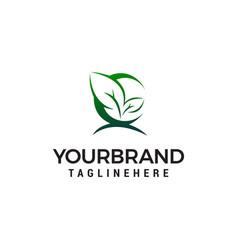 green leaf logo design concept template vector image