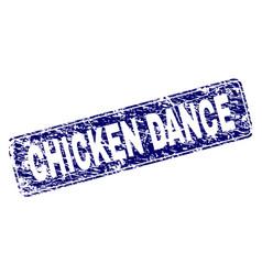 Grunge chicken dance framed rounded rectangle vector