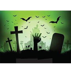 halloween landscape with zombie hand in graveyard vector image