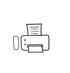 hand drawn fax icon with doodle style vector image