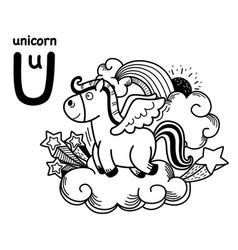 Hand drawnalphabet letter u-unicorn vector