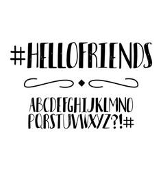 handwritten alphabet font vector image