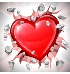 Heart Breaking Through Wall vector image