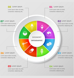 Infographic design template with dessert icons vector