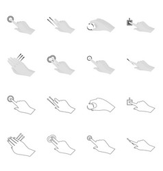Isolated object touchscreen and hand icon set vector