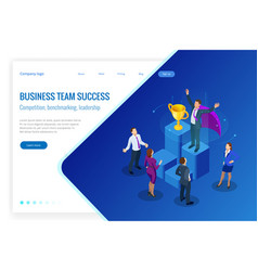 isometric winner business and achievement concept vector image