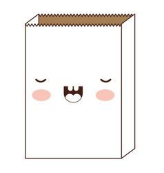 kawaii paper bag in brown silhouette vector image