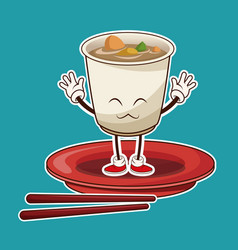 kawaii ramen soup oriental food japanese platter vector image