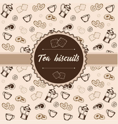 Label cookies and crackers kettle and cups vector