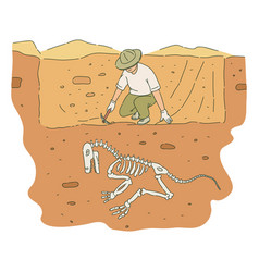 Male archaeologist with pickaxe digs out dinosaur vector