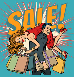 man carries woman in his arms sale vector image