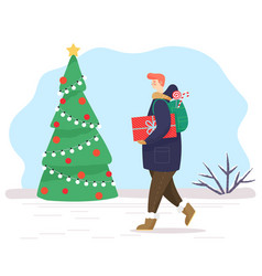 Man walking with gifts in park christmas fir tree vector