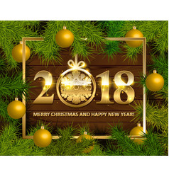 marry christmas and happy new year 2018 vector image