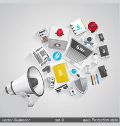 megaphone data style set 9 vector image