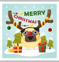 Merry Christmas Greeting Card with dog wearing vector