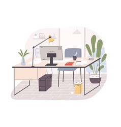 modern home office interior remote workplace with vector image