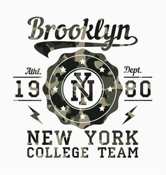 new york brooklyn camouflage t-shirt typography vector image