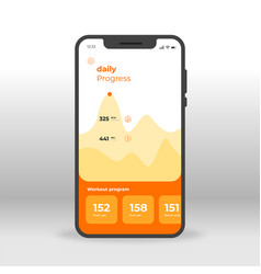 orange daily fitness gym progress ui ux gui vector image