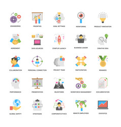 project management flat icons pack vector image