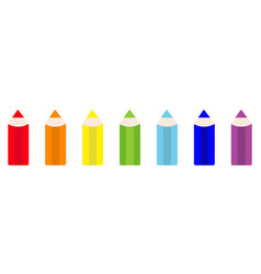 rainbow color pencil icon set line back to school vector image