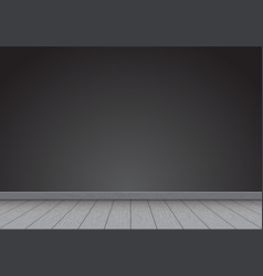 realistic black wall blank with gray wood floor vector image