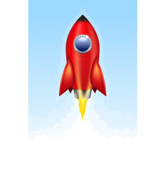 red rocket launch vector image