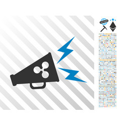 Ripple megaphone alert flat icon with bonus vector