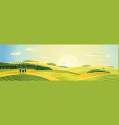 Rural landscape panoram vector