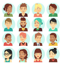 Satisfied people faces happy laughing people vector
