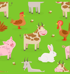 seamless pattern cute farm animals on green vector image