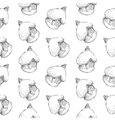 Seamless pattern of vintage hand drawn balls and vector