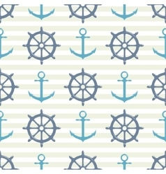 Seamless pattern with steering wheel and anchor vector