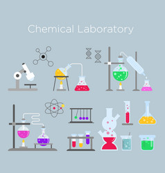 set chemical laboratory vector image