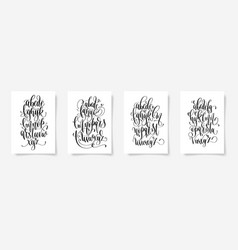 set of four black and white hand lettering vector image
