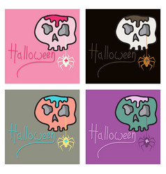 set of skull in a vintage retro hand drawn vector image