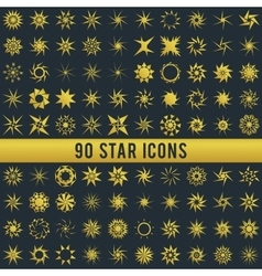 Set of vintage golden star vector image