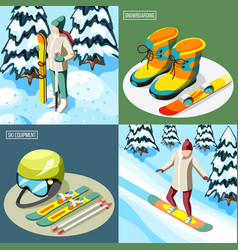 ski resort isometric design concept vector image