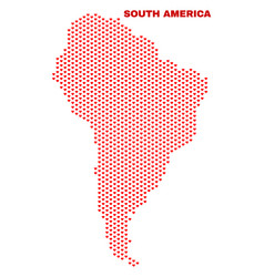 south america map - mosaic of heart hearts vector image