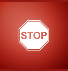 stop sign icon isolated on red background vector image