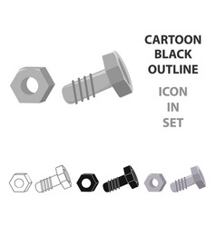 Structural bolt and hex nut icon in cartoon style vector