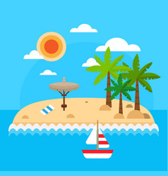 summer vacation on sea background tropical island vector image