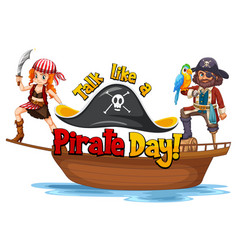 talk like a pirate day font with pirates vector image
