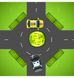 Taxi and police car on the road vector image