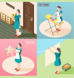 Tortured housewife 2x2 design concept vector