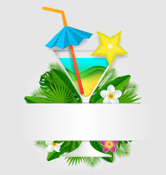 tropical cocktail paper cut poster template vector image