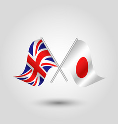 Two crossed british and japanese flags vector