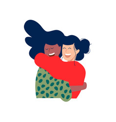 Two happy girl friends hug in christmas clothes vector