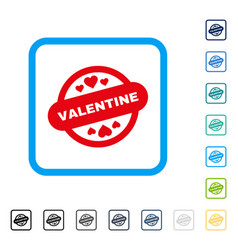 valentine stamp seal framed icon vector image