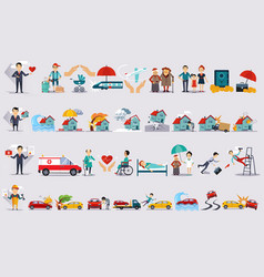 Various types of insurance set insurance of life vector
