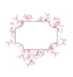 Vintage Border of Spring Cherry Blossom vector